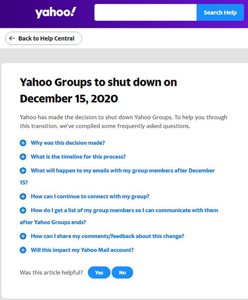 Yahoo Groups将永久关站